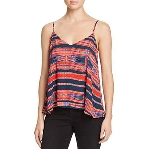 Aqua Aztec Stripe V Neck Cami Tank Top